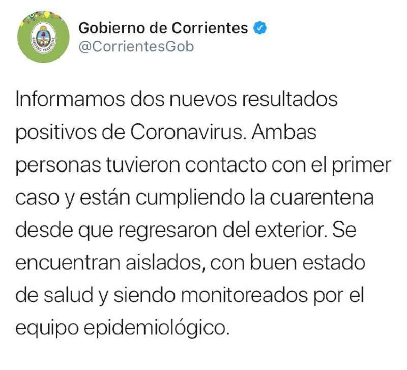 Dos nuevos positivos de Coronavirus en Corrientes