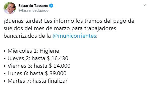Tassano anunció el cronograma de sueldos de marzo