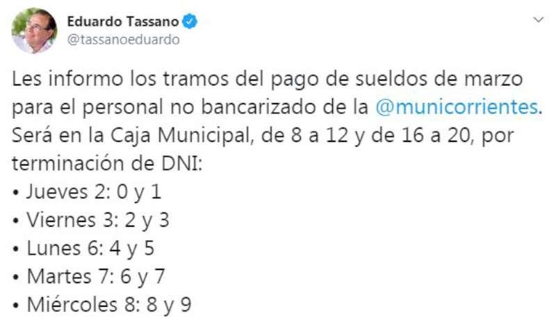 Tassano anunció los sueldos de marzo para el personal no bancarizado municipal