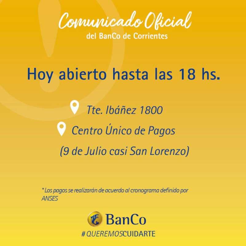 Hasta las 18 de hoy, el Banco de Corrientes extendió su horario de atención