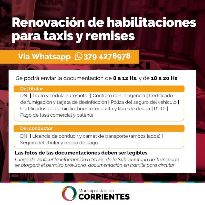 Los remiseros y taxistas podrán extender su licencia con mínimos requisitos