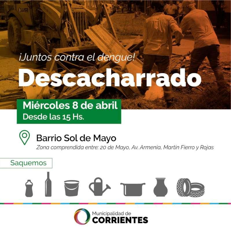 La Municipalidad realizará tareas de descacharrado en el barrio Sol de Mayo