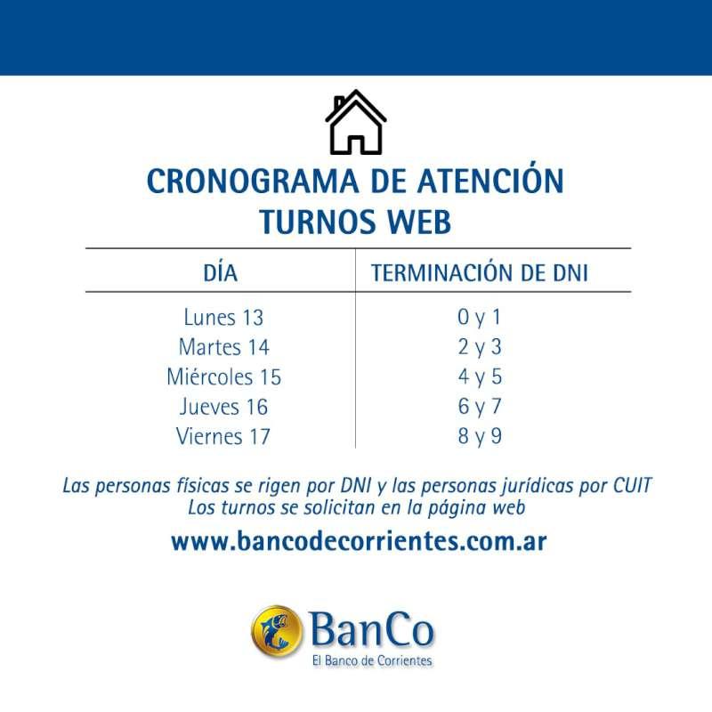 Desde el lunes 13  el Banco de Corrientes abre la atención comercial con turnos previos