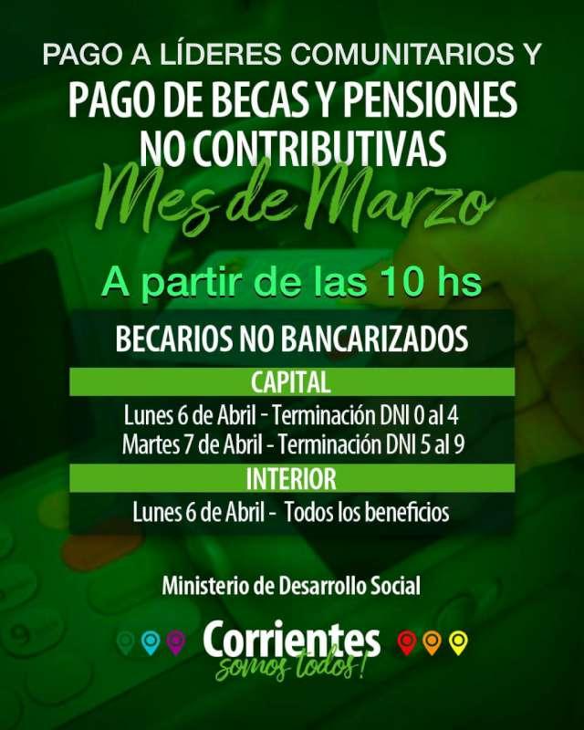 Desde este lunes se pagan becas, Líderes y Pensiones No Contributivas a no bancarizados