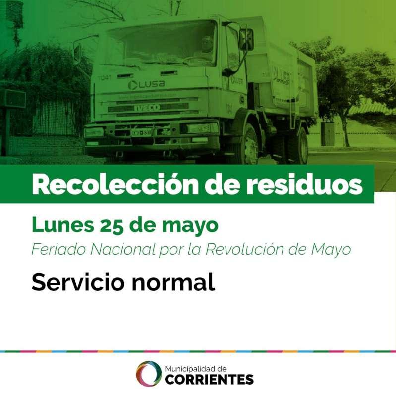 Así funcionarán los servicios municipales el lunes 25 de mayo