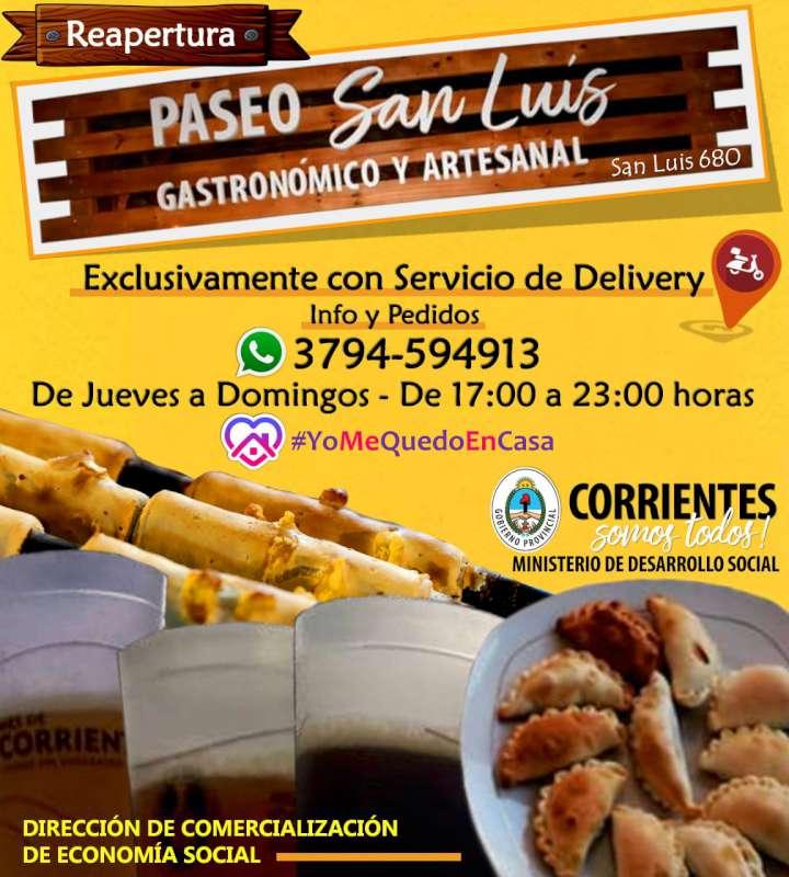 El Paseo San Luis reabre sus puertas para la venta delibery de productos gastronómicos y artesanales