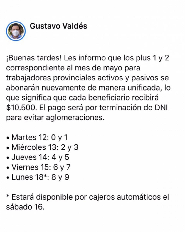El Gobernador Valdés confirmó pago del Plus de $10.500 desde este martes 12