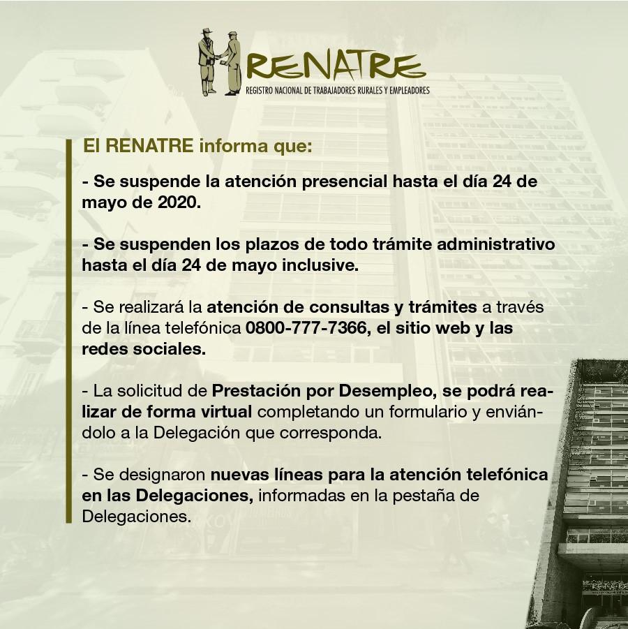 RENATRE mantiene la atención remota hasta el 24 de mayo