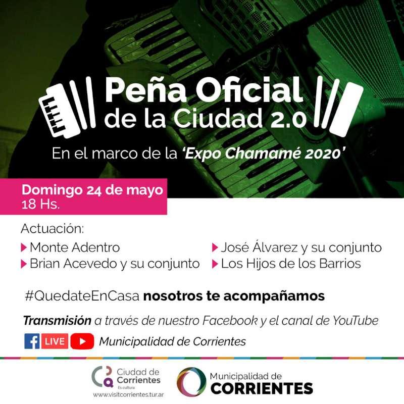 La Peña Oficial este domingo en la Expo Chamame 2020