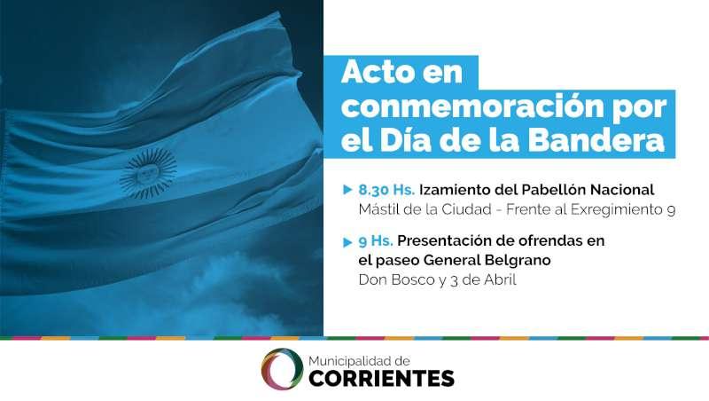 Tassano y Valdés encabezarán el acto por el Día de la Bandera Nacional