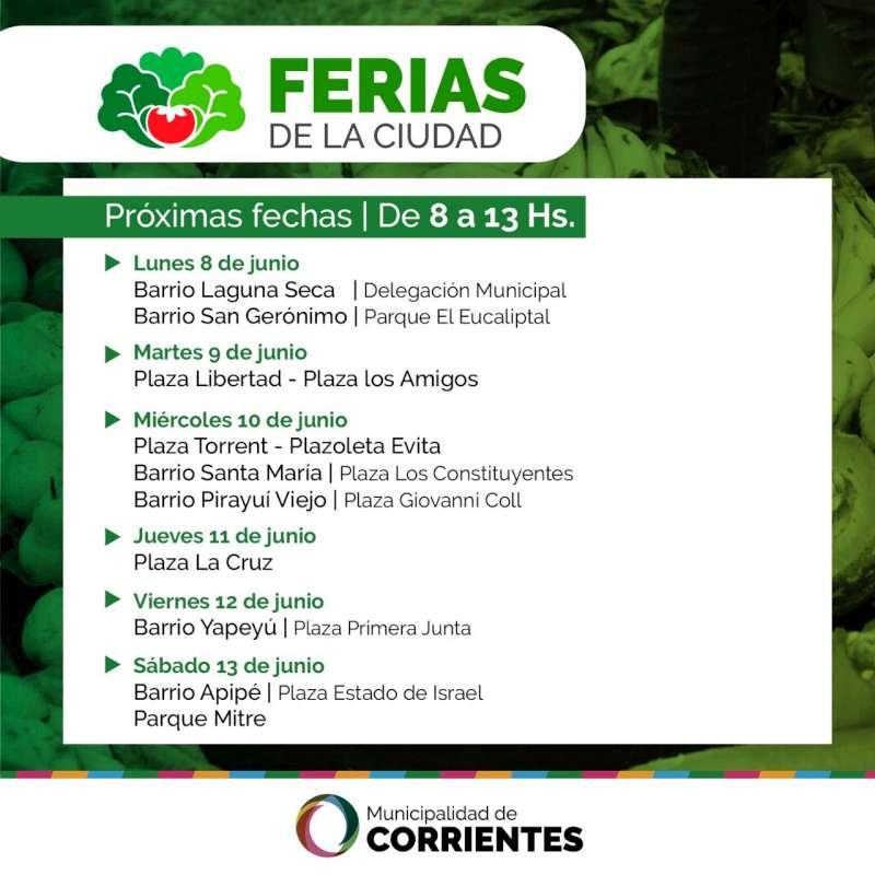 Las Ferias de la Ciudad estarán mañana en el parque Mitre y el barrio Santa Teresita