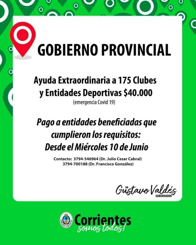 """Desde este miércoles se abona la """"Ayuda Extraordinaria"""" a 175 entidades deportivas"""