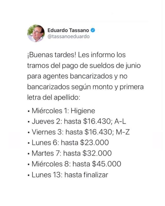 Tassano anunció el cronograma de sueldos de junio