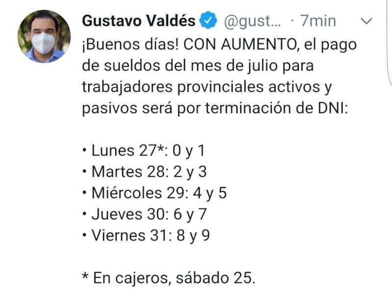 Con aumento, Valdés anunció los sueldos de julio para trabajadores provinciales