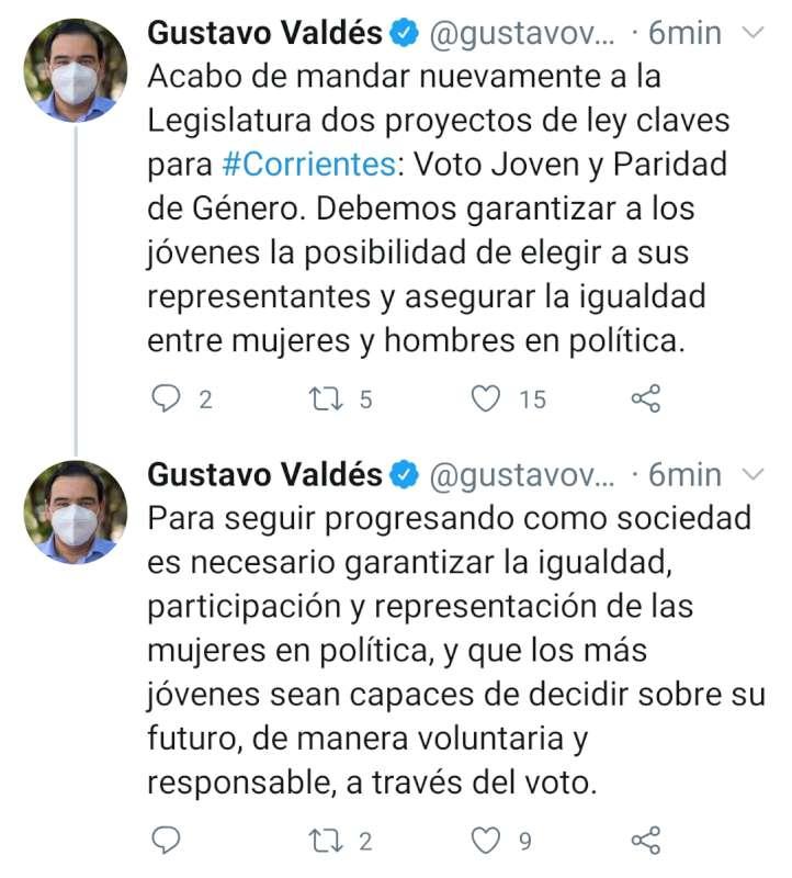 Valdés envió a la Legislatura los proyectos de ley de Paridad de Género y Voto Jóven