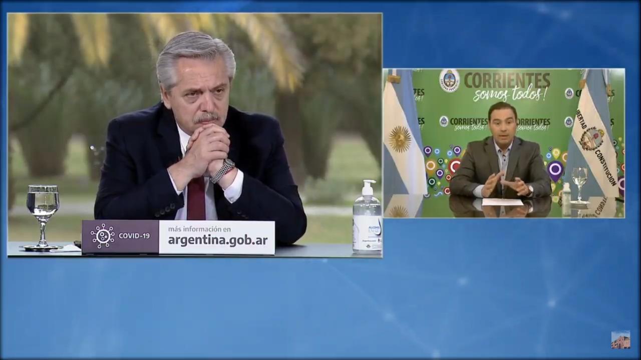 En teleconferencia, el Presidente anunció con Valdés la construcción de una importante obra para Corrientes