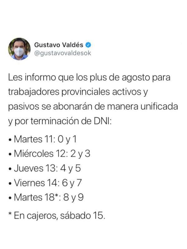 Gobernador Valdés informó días de pago del Plus Unificado de Agosto