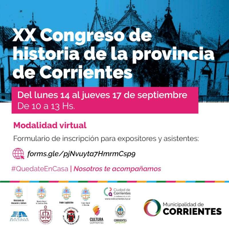 Se realizará el primer Congreso Virtual de Historia de la Provincia de Corrientes