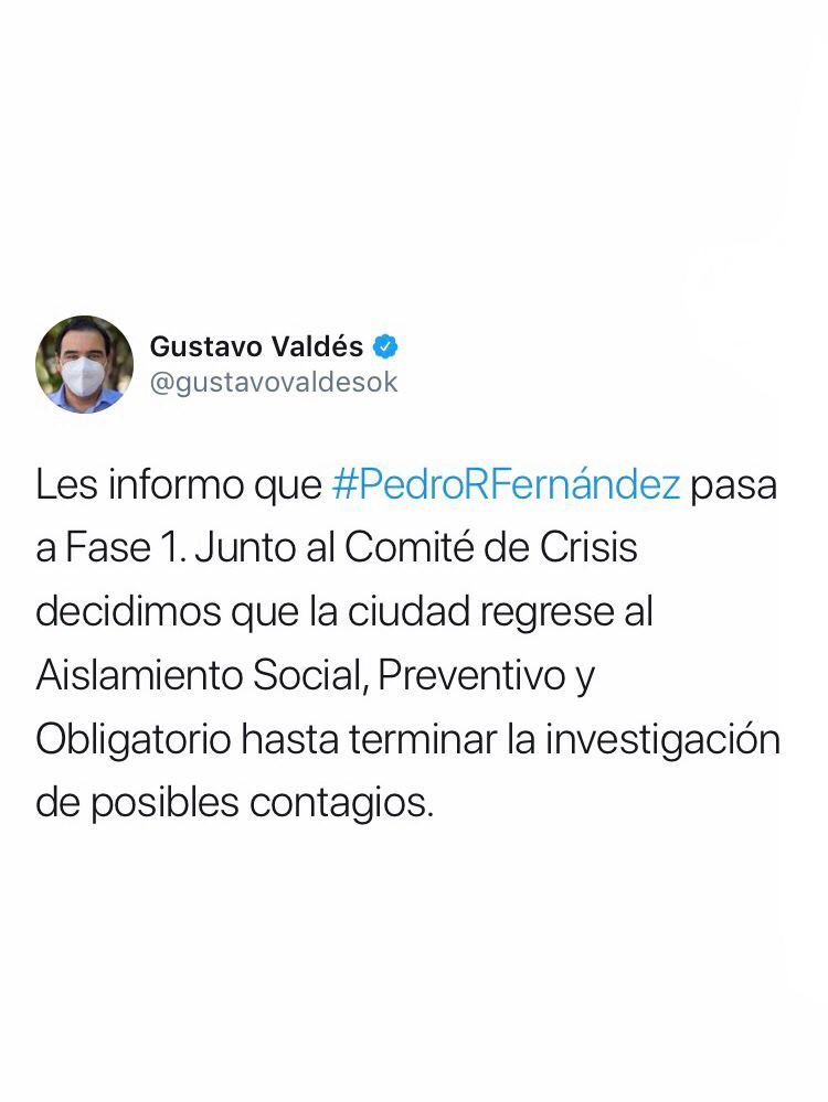 La localidad de Pedro R. Fernández pasa a Fase 1