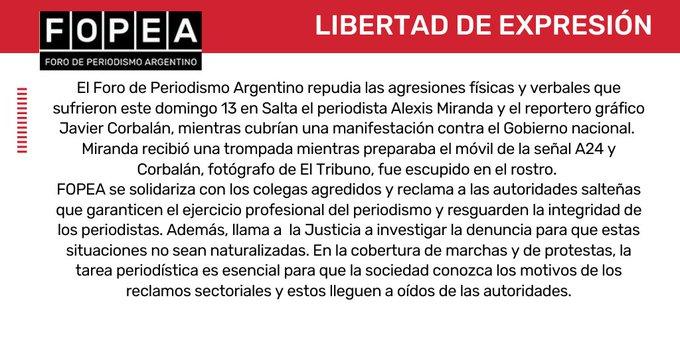 FOPEA repudia las agresiones que sufrieron el periodista Alexis Miranda y el reportero gráfico Javier Corbalán