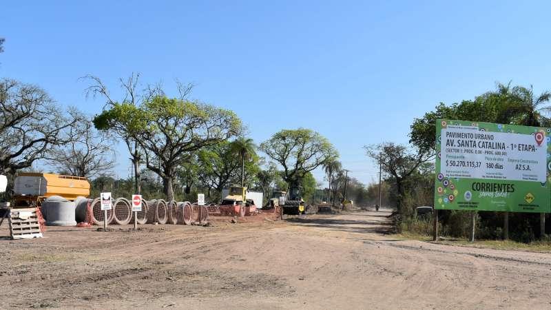 Pavimentan la avenida Santa Catalina, otro nexo vial para las urbanizaciones de esa parte de Corrientes