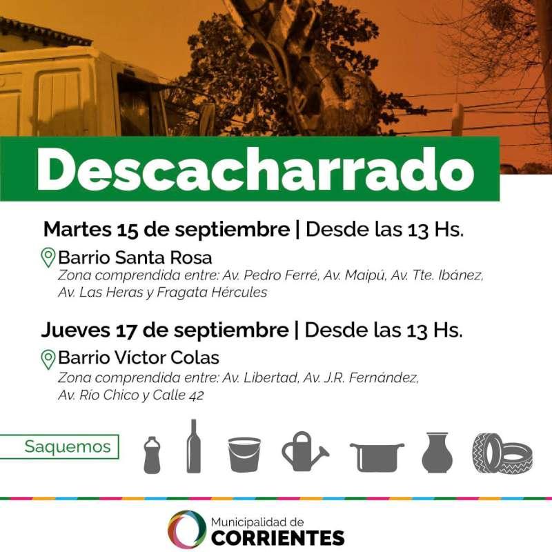 Los operativos de descacharrado se realizarán en los barrios Santa Rosa y Víctor Colas