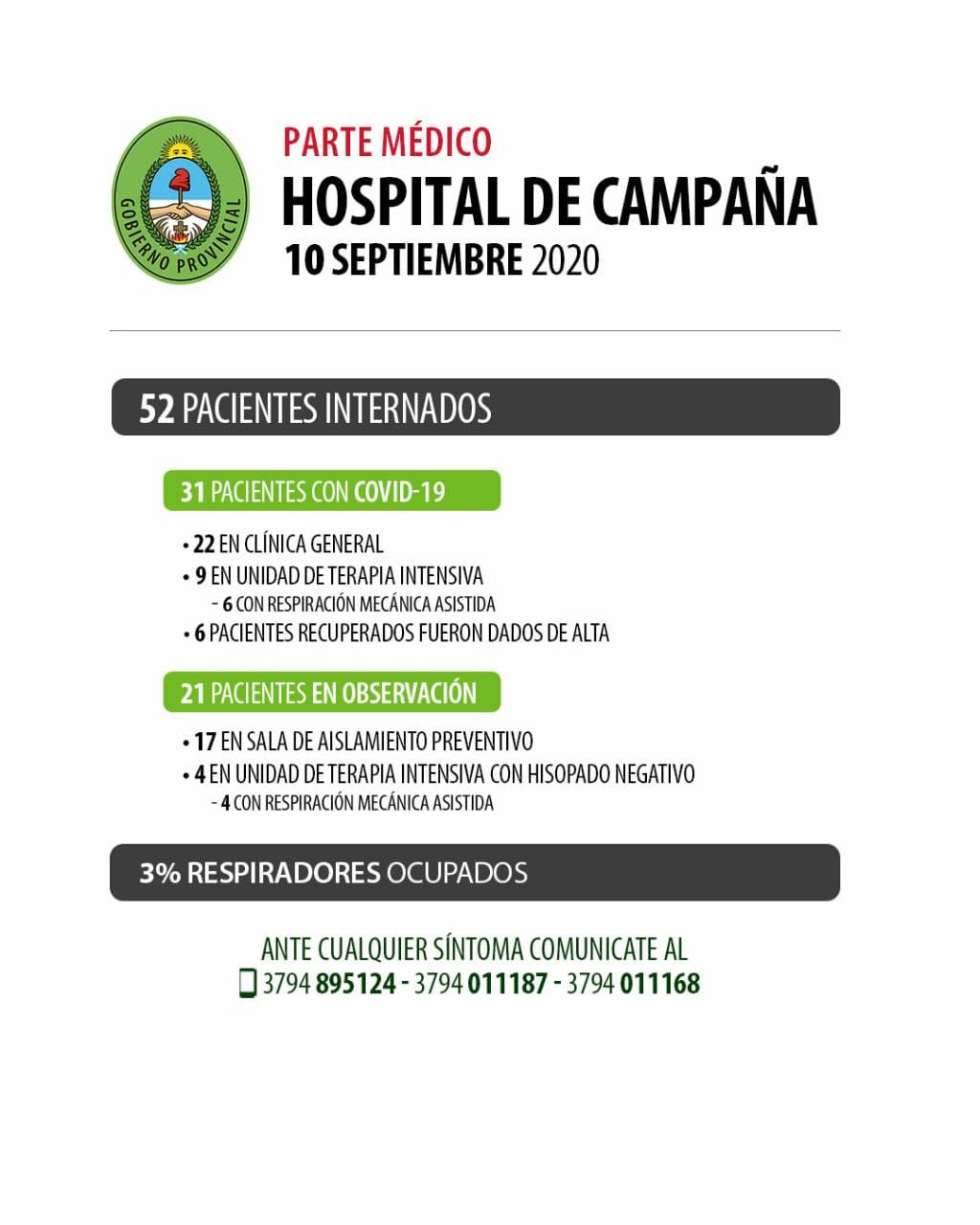 Parte médico de los pacientes internados en el Hospital de Campaña