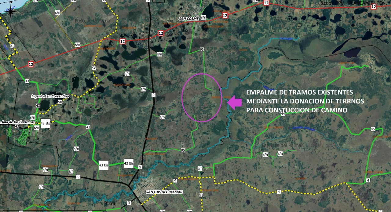 La ruta provincial 95 que une San Luis del Palmar con San Cosme esta ahora  liberada en toda su traza