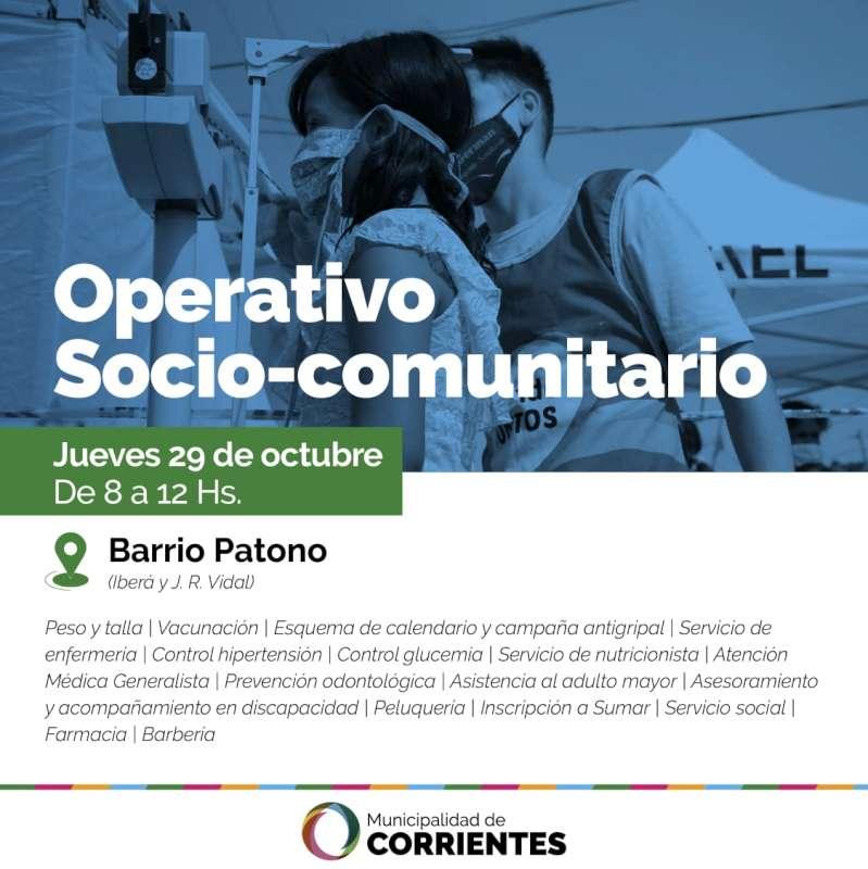 Este jueves el operativo socio-comunitario llegará al barrio Patono