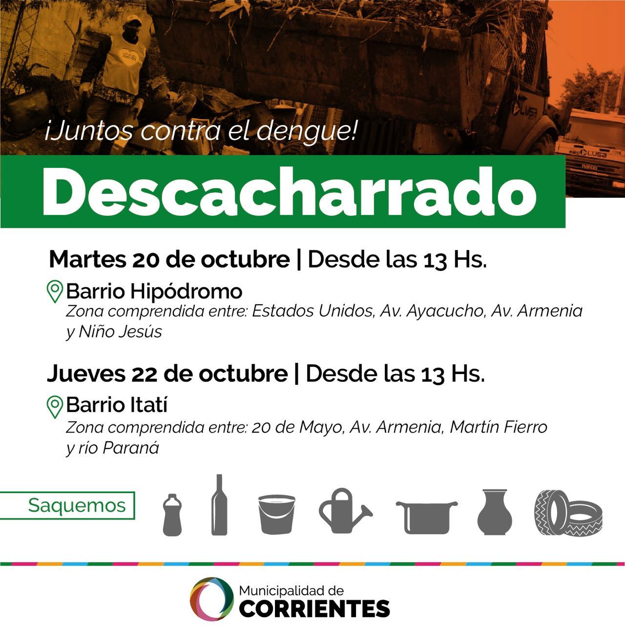 El operativo de descacharrado se realizará en los barrios Hipódromo e Itatí