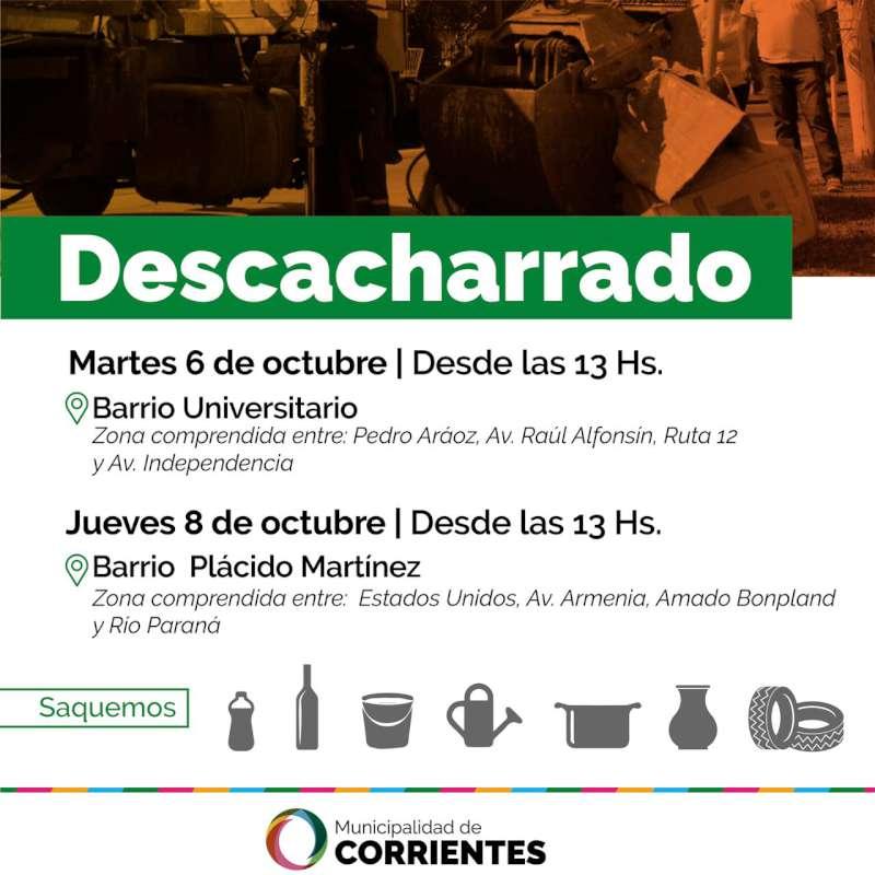 Los operativos de descacharrado se realizarán en los barrios Universitario y Plácido Martínez