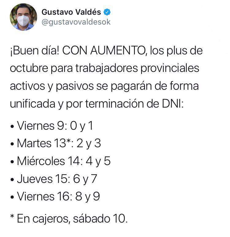 Con aumento, Valdés informó el pago del plus unificado de octubre