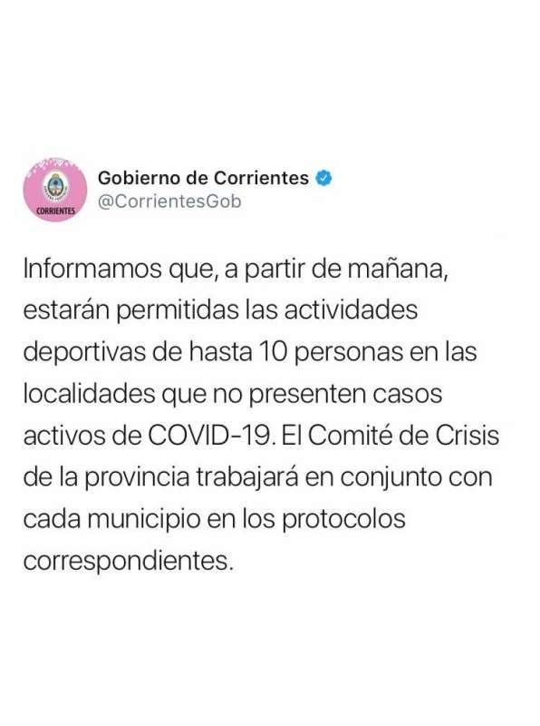 Habilitan los deportes de hasta 10 personas en localidades sin casos activos de COVID-19