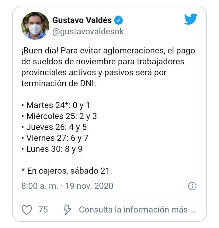 El gobernador Valdés dio a conocer el cronograma de sueldos de noviembre