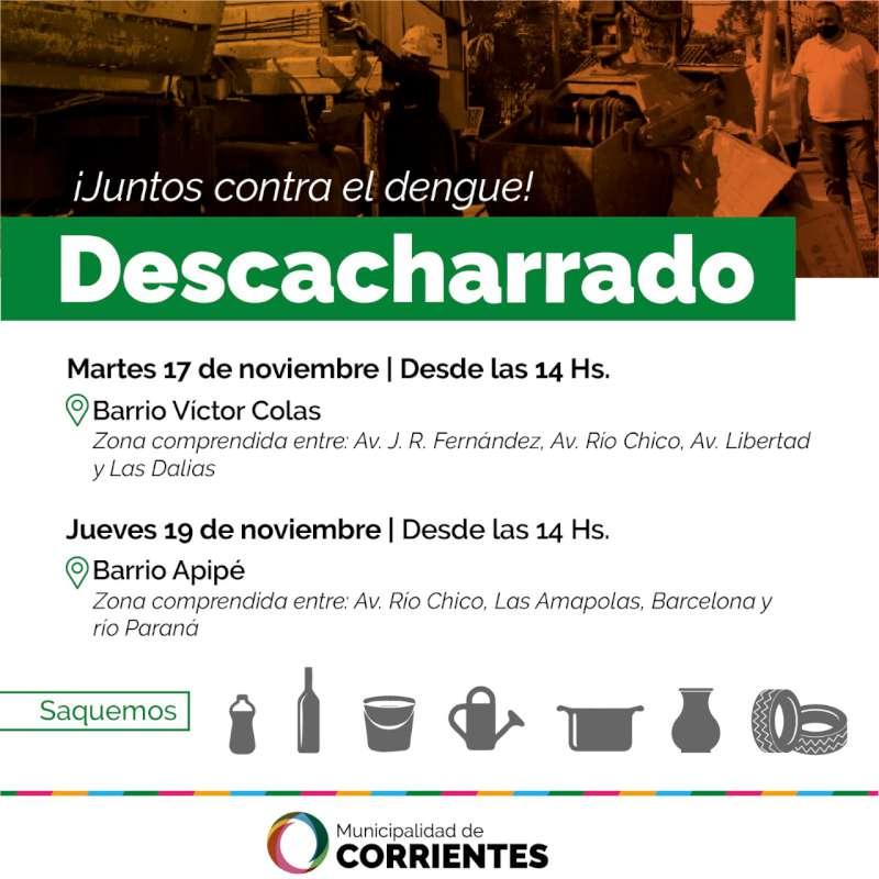 El operativo de descacharrado llega a los barrios Víctor Colas y Apipé