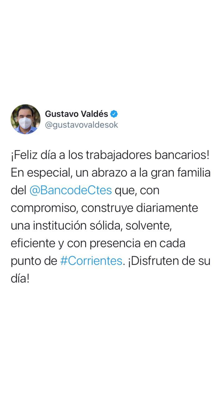 Valdés saludó a los empleados bancarios en su día