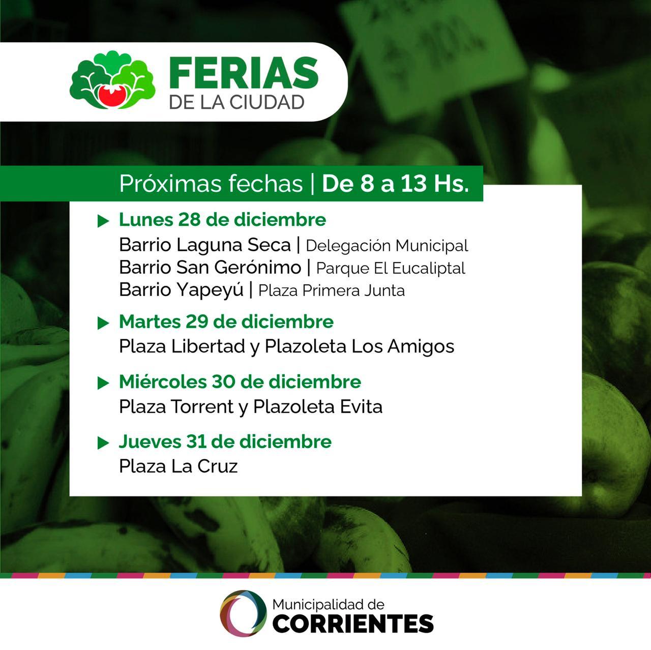 Las Ferias de la Ciudad visitarán los barrios Laguna Seca, San Gerónimo y Yapeyú