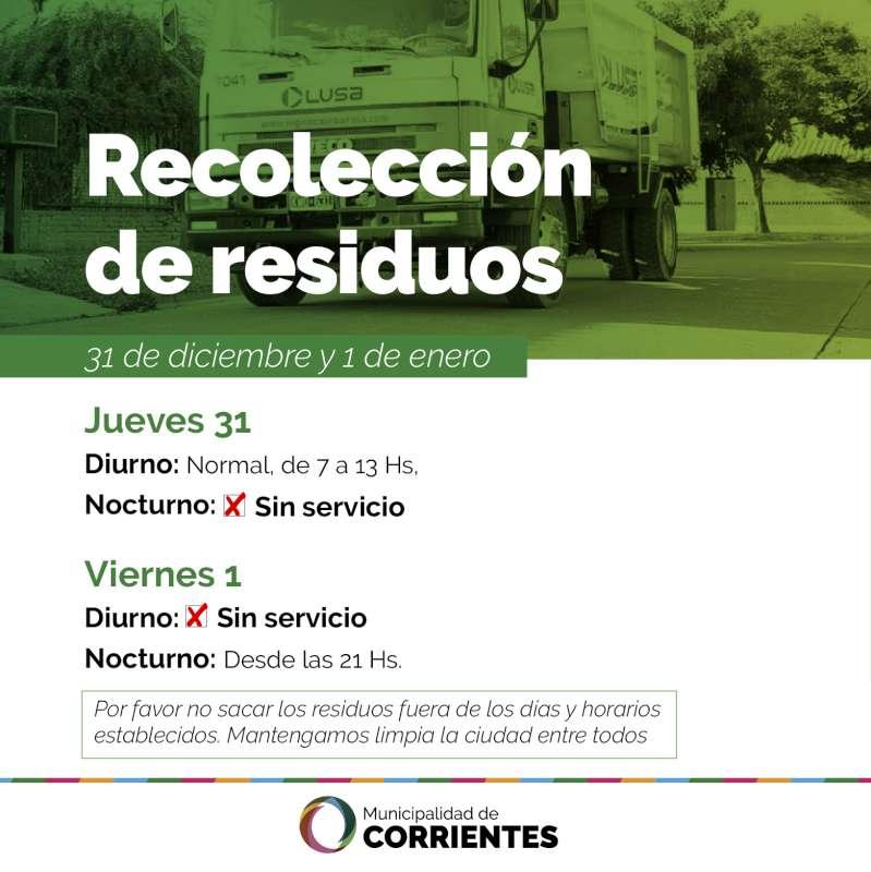 Cambio en la modalidad de la recolección de residuos para el 31 y 1 de enero