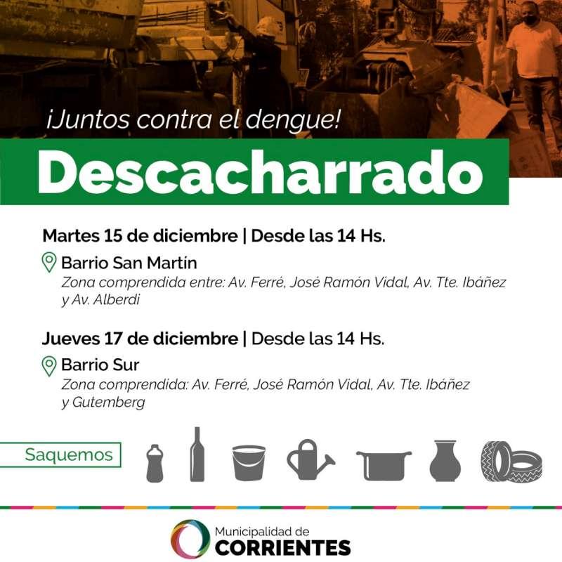 El operativo de descacharrado llega esta semana a los barrios San Martín y Sur