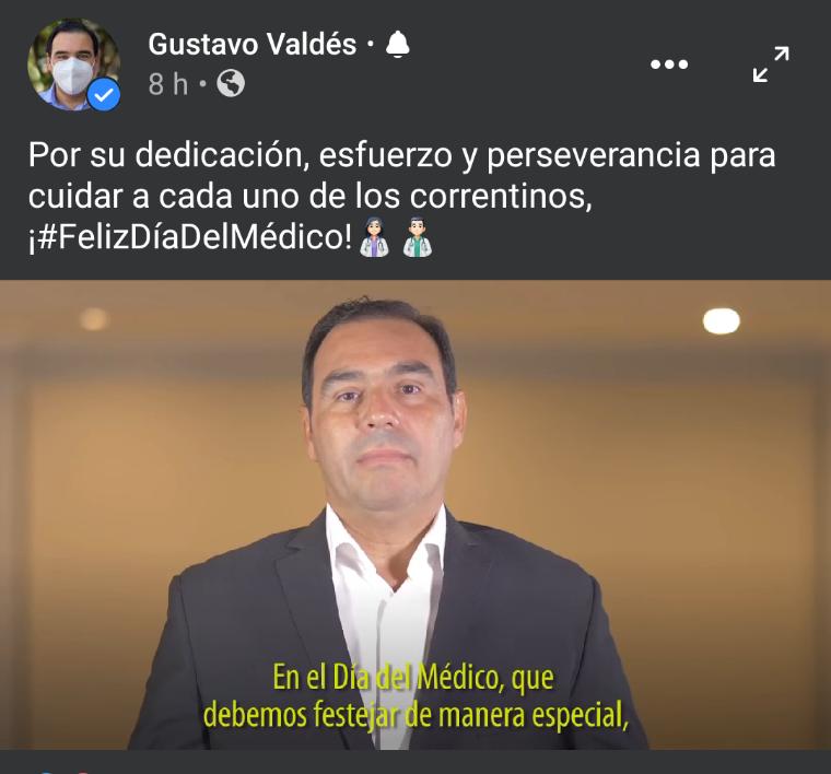 Valdés saludó a los médicos correntinos en su día