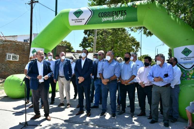 Pavimentación. Valdés inauguró obra que erradica todas las calles de tierra del barrio Bañado Norte