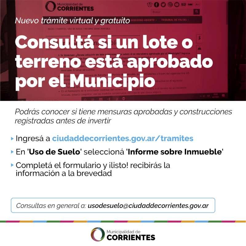 La Municipalidad pone a disposición la consulta online sobre el estado de terrenos