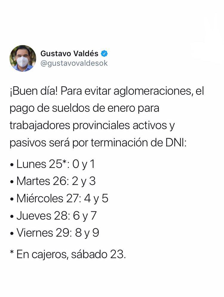 Valdés anunció el cronograma del sueldo de enero