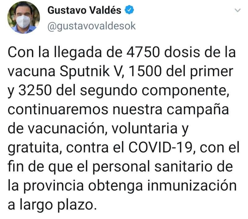 El gobernador Valdés anunció la continuidad del plan de vacunación contra el Covid-19 en Corrientes