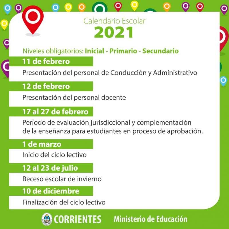 EL Ministerio de Educación dio a conocer el calendario para los niveles Inicial, Primario y Secundario