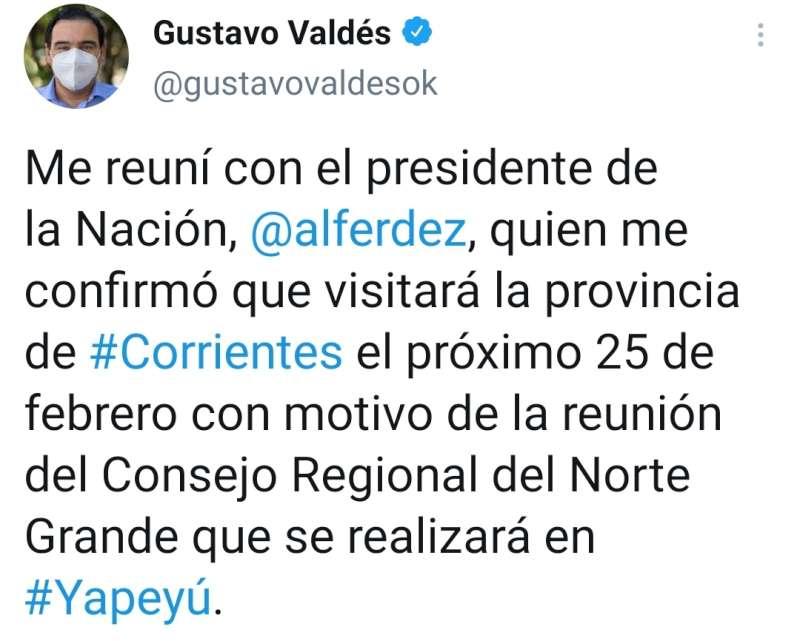 El gobernador Valdés se reunió con el presidente Fernández, quien le confirmó su presencia en Corrientes