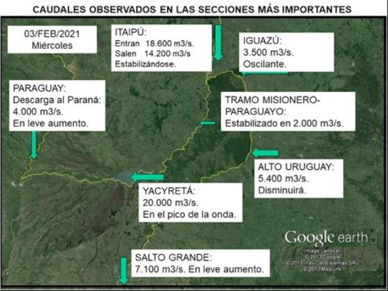 El río Paraná en gradual aumento