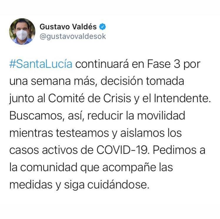 El gobernador Valdés anunció que Santa Lucía seguirá en Fase 3