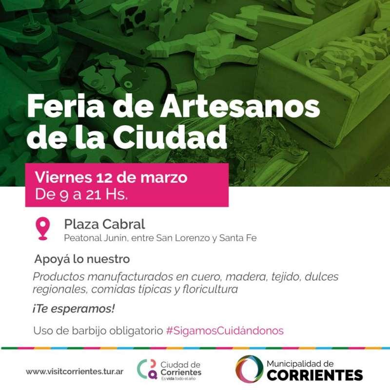 Se realizará la Ferias de Artesanos en plaza Cabral y Punta Tacuara