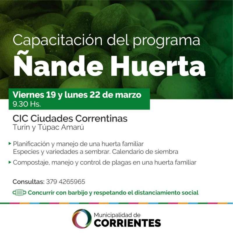 Se realizarán capacitaciones de Ñande Huerta en el CIC Ciudades Correntinas